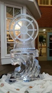 Ships Wheel snowfilled and carved around