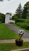 Barn with Two Huge Silos, Cow Mailbox, Fake Cow