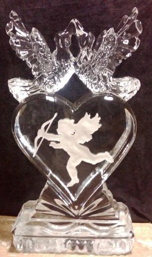 Lovebirds on Solid Heart with Snowfilled Cupid
